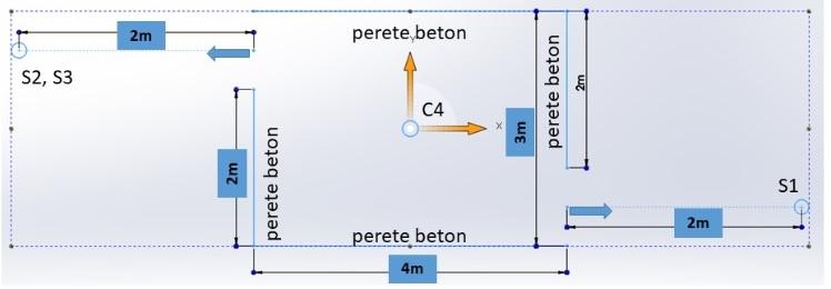 Schita unei structuri de beton construita in poligon in scopul evaluarii efectelor undei de soc asupra acesteia.