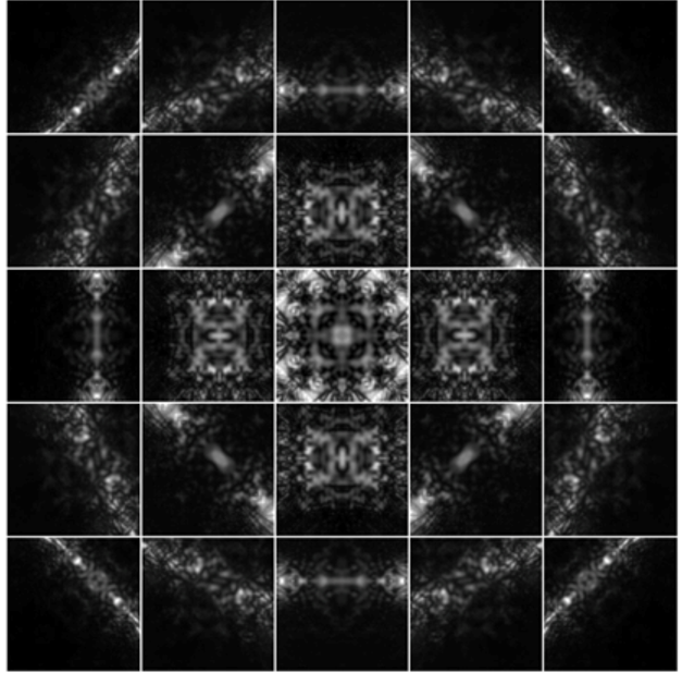 Figure 1. Montage of digital large-angle convergent beam electron diffraction (D-LACBED) patterns taken at the [001] zone axis of tetragonal barium titanate at room temperature.